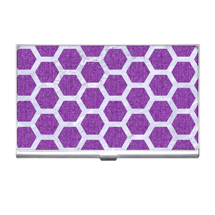HEXAGON2 WHITE MARBLE & PURPLE DENIM Business Card Holders