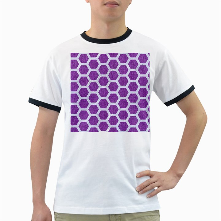 HEXAGON2 WHITE MARBLE & PURPLE DENIM Ringer T-Shirts
