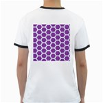 HEXAGON2 WHITE MARBLE & PURPLE DENIM Ringer T-Shirts Back