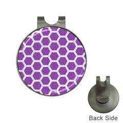 HEXAGON2 WHITE MARBLE & PURPLE DENIM Hat Clips with Golf Markers