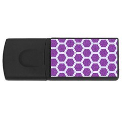 Hexagon2 White Marble & Purple Denim Rectangular Usb Flash Drive by trendistuff