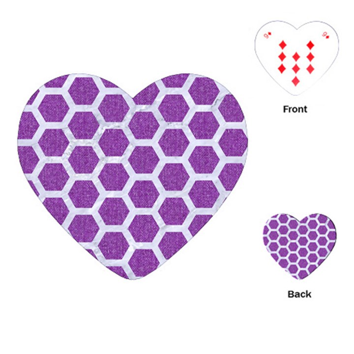 HEXAGON2 WHITE MARBLE & PURPLE DENIM Playing Cards (Heart)
