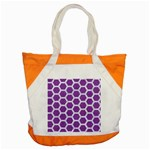 HEXAGON2 WHITE MARBLE & PURPLE DENIM Accent Tote Bag Front