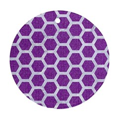 HEXAGON2 WHITE MARBLE & PURPLE DENIM Round Ornament (Two Sides)