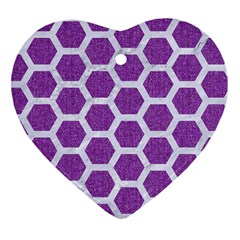HEXAGON2 WHITE MARBLE & PURPLE DENIM Heart Ornament (Two Sides)