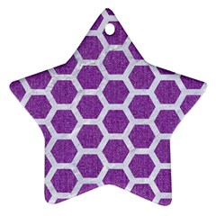 HEXAGON2 WHITE MARBLE & PURPLE DENIM Star Ornament (Two Sides)