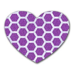Hexagon2 White Marble & Purple Denim Heart Mousepads by trendistuff