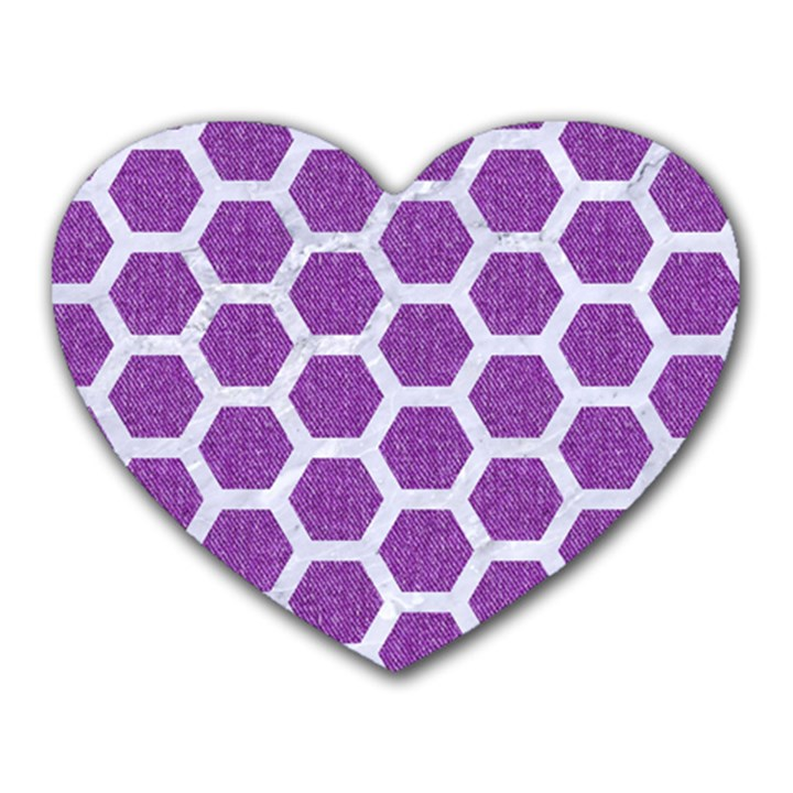 HEXAGON2 WHITE MARBLE & PURPLE DENIM Heart Mousepads