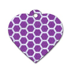 HEXAGON2 WHITE MARBLE & PURPLE DENIM Dog Tag Heart (Two Sides)