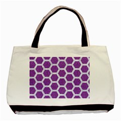 HEXAGON2 WHITE MARBLE & PURPLE DENIM Basic Tote Bag (Two Sides)
