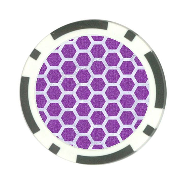 HEXAGON2 WHITE MARBLE & PURPLE DENIM Poker Chip Card Guard