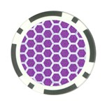 HEXAGON2 WHITE MARBLE & PURPLE DENIM Poker Chip Card Guard Back