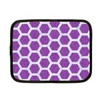 HEXAGON2 WHITE MARBLE & PURPLE DENIM Netbook Case (Small)  Front