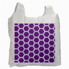 Hexagon2 White Marble & Purple Denim Recycle Bag (two Side)  by trendistuff