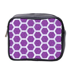 Hexagon2 White Marble & Purple Denim Mini Toiletries Bag 2 Side