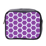 HEXAGON2 WHITE MARBLE & PURPLE DENIM Mini Toiletries Bag 2-Side Front
