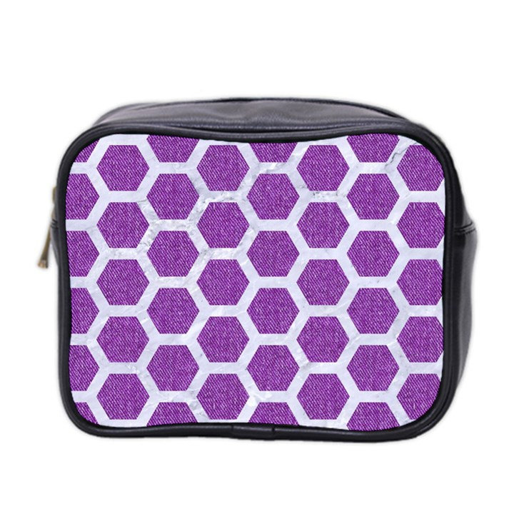 HEXAGON2 WHITE MARBLE & PURPLE DENIM Mini Toiletries Bag 2-Side