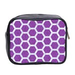 HEXAGON2 WHITE MARBLE & PURPLE DENIM Mini Toiletries Bag 2-Side Back