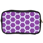HEXAGON2 WHITE MARBLE & PURPLE DENIM Toiletries Bags Front