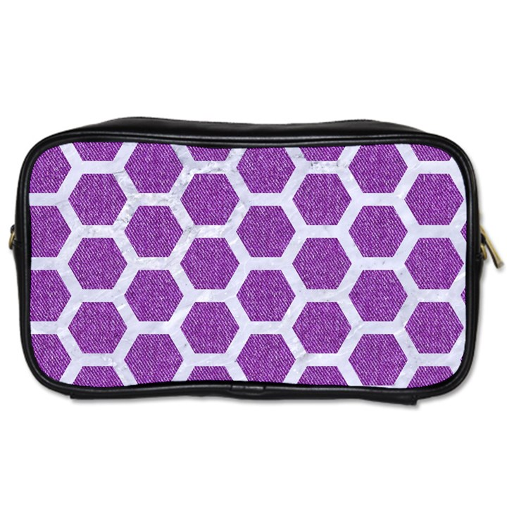 HEXAGON2 WHITE MARBLE & PURPLE DENIM Toiletries Bags