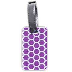 HEXAGON2 WHITE MARBLE & PURPLE DENIM Luggage Tags (One Side)