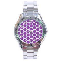 HEXAGON2 WHITE MARBLE & PURPLE DENIM Stainless Steel Analogue Watch