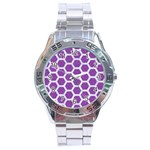 HEXAGON2 WHITE MARBLE & PURPLE DENIM Stainless Steel Analogue Watch Front