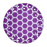 HEXAGON2 WHITE MARBLE & PURPLE DENIM Round Filigree Ornament (Two Sides) Back