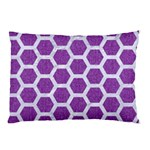 HEXAGON2 WHITE MARBLE & PURPLE DENIM Pillow Case (Two Sides) Back