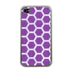 HEXAGON2 WHITE MARBLE & PURPLE DENIM Apple iPhone 4 Case (Clear)