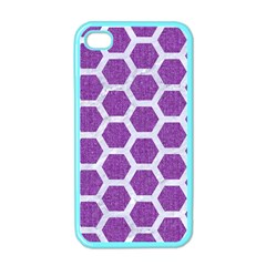 Hexagon2 White Marble & Purple Denim Apple Iphone 4 Case (color) by trendistuff