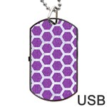 HEXAGON2 WHITE MARBLE & PURPLE DENIM Dog Tag USB Flash (Two Sides) Front