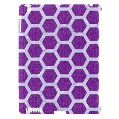 Hexagon2 White Marble & Purple Denim Apple Ipad 3/4 Hardshell Case (compatible With Smart Cover) by trendistuff