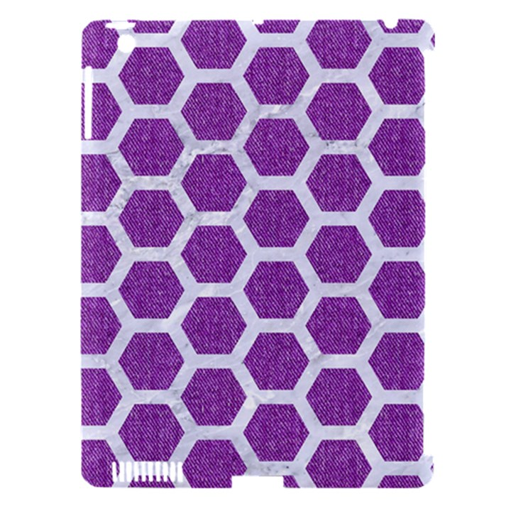 HEXAGON2 WHITE MARBLE & PURPLE DENIM Apple iPad 3/4 Hardshell Case (Compatible with Smart Cover)