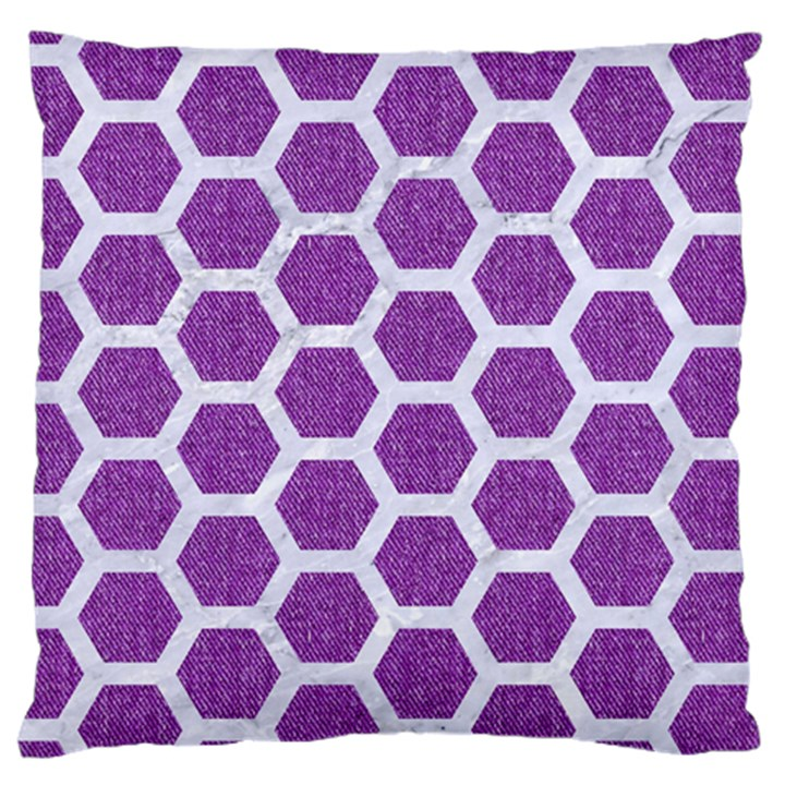HEXAGON2 WHITE MARBLE & PURPLE DENIM Large Cushion Case (One Side)