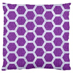 Hexagon2 White Marble & Purple Denim Large Cushion Case (two Sides)