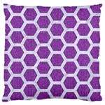 HEXAGON2 WHITE MARBLE & PURPLE DENIM Large Cushion Case (Two Sides) Back