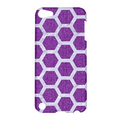 Hexagon2 White Marble & Purple Denim Apple Ipod Touch 5 Hardshell Case by trendistuff