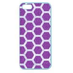 Hexagon2 White Marble & Purple Denim Apple Seamless Iphone 5 Case (color) by trendistuff