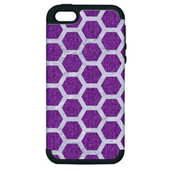 Hexagon2 White Marble & Purple Denim Apple Iphone 5 Hardshell Case (pc+silicone)