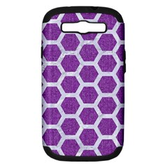 Hexagon2 White Marble & Purple Denim Samsung Galaxy S Iii Hardshell Case (pc+silicone) by trendistuff