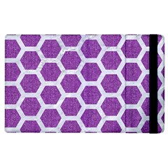 Hexagon2 White Marble & Purple Denim Apple Ipad 2 Flip Case by trendistuff