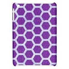 Hexagon2 White Marble & Purple Denim Apple Ipad Mini Hardshell Case by trendistuff