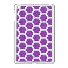 Hexagon2 White Marble & Purple Denim Apple Ipad Mini Case (white) by trendistuff