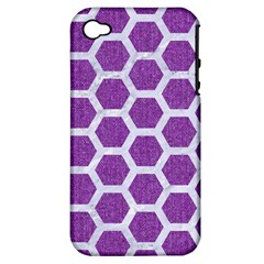 Hexagon2 White Marble & Purple Denim Apple Iphone 4/4s Hardshell Case (pc+silicone) by trendistuff