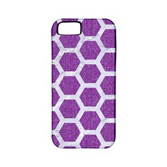 HEXAGON2 WHITE MARBLE & PURPLE DENIM Apple iPhone 5 Classic Hardshell Case (PC+Silicone)