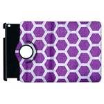 HEXAGON2 WHITE MARBLE & PURPLE DENIM Apple iPad 2 Flip 360 Case Front