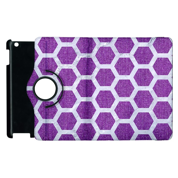 HEXAGON2 WHITE MARBLE & PURPLE DENIM Apple iPad 2 Flip 360 Case
