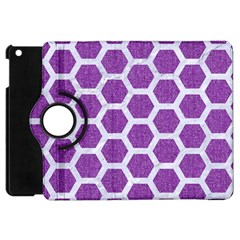 Hexagon2 White Marble & Purple Denim Apple Ipad Mini Flip 360 Case by trendistuff