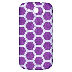 Hexagon2 White Marble & Purple Denim Samsung Galaxy S3 S Iii Classic Hardshell Back Case by trendistuff